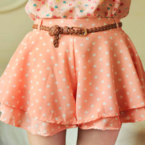 Pastel Polka Dot Ruffle Skort Comes With Braided Brown Belt
