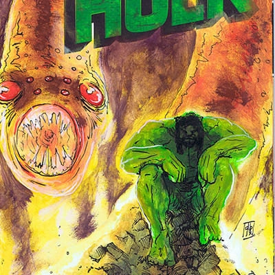 Hulk and monster sketch cover
