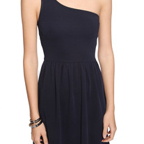L navy blue asymmetrical sleeveless pleated skirt mini pin-up wilma dress