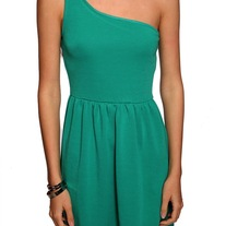 L green asymmetrical sleeveless pleated skirt mini pin-up wilma dress
