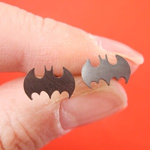 Batman Logo Bat Symbol Stud Earrings in Gunmetal Silver | Allergy Free