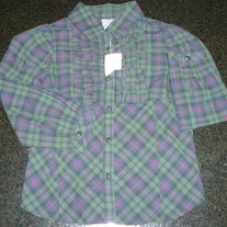 Dark Green/Navy Plaid Button/Collar Shirt-NEW-Gymboree Size 5