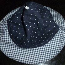 Navy/White Check/Polka Dot Hat-Vitamins One Size