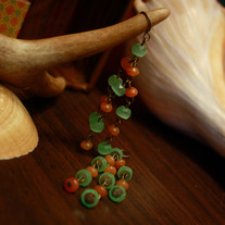 Brass, Green Glass, and Aventurine Tendril Earrings