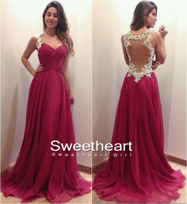 Sweetheart Girl | A-line Sweetheart Red Chiffon Long Prom Dresses ...
