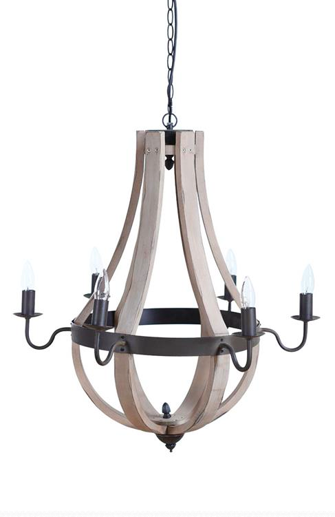 Wine barrel chandelier white washedmetal the lofty boutique wine barrel chandelier white washedmetal aloadofball Image collections