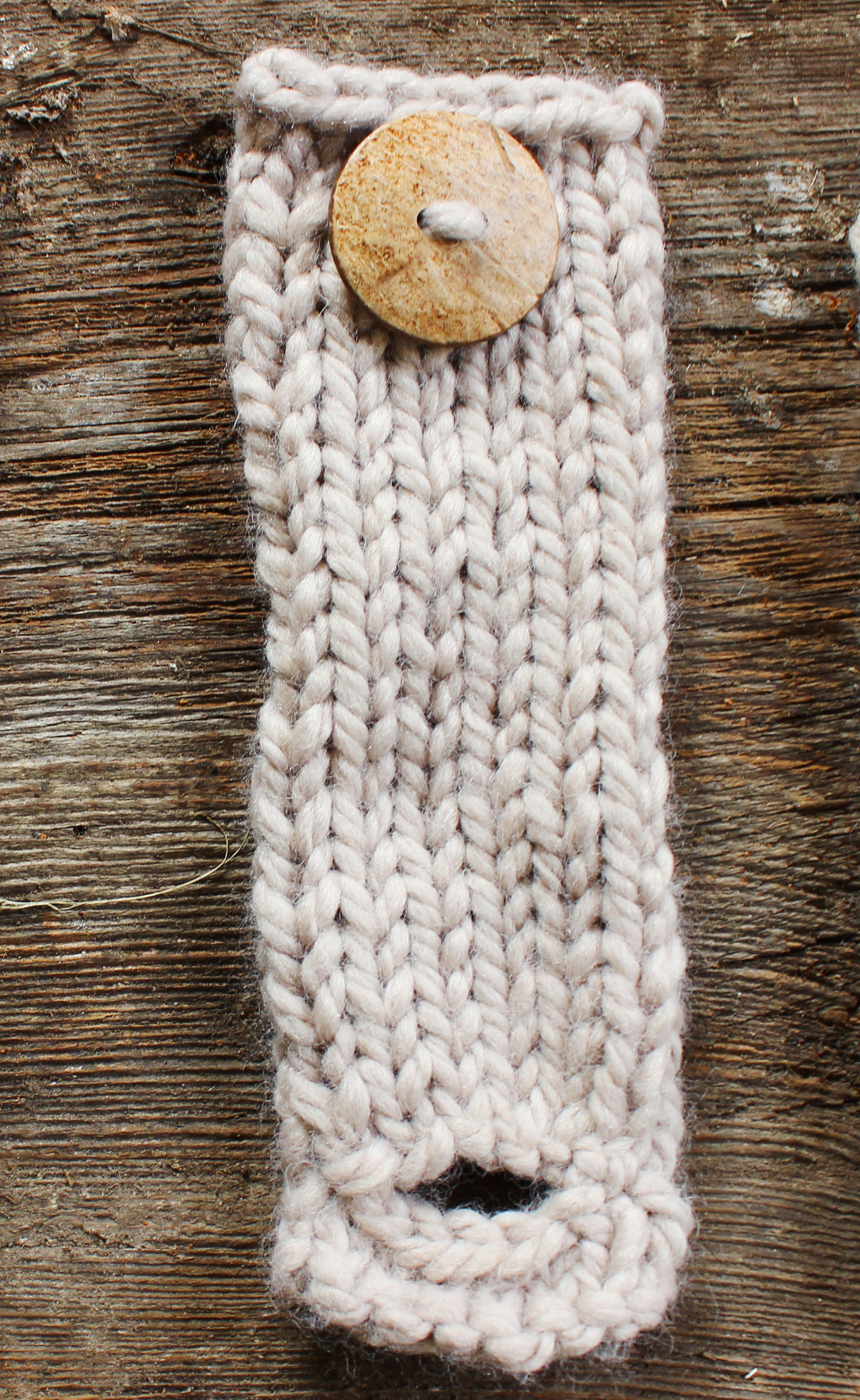 Knitting On The Net Buttonhole : Arm knit scarf with button cuff brown coconut