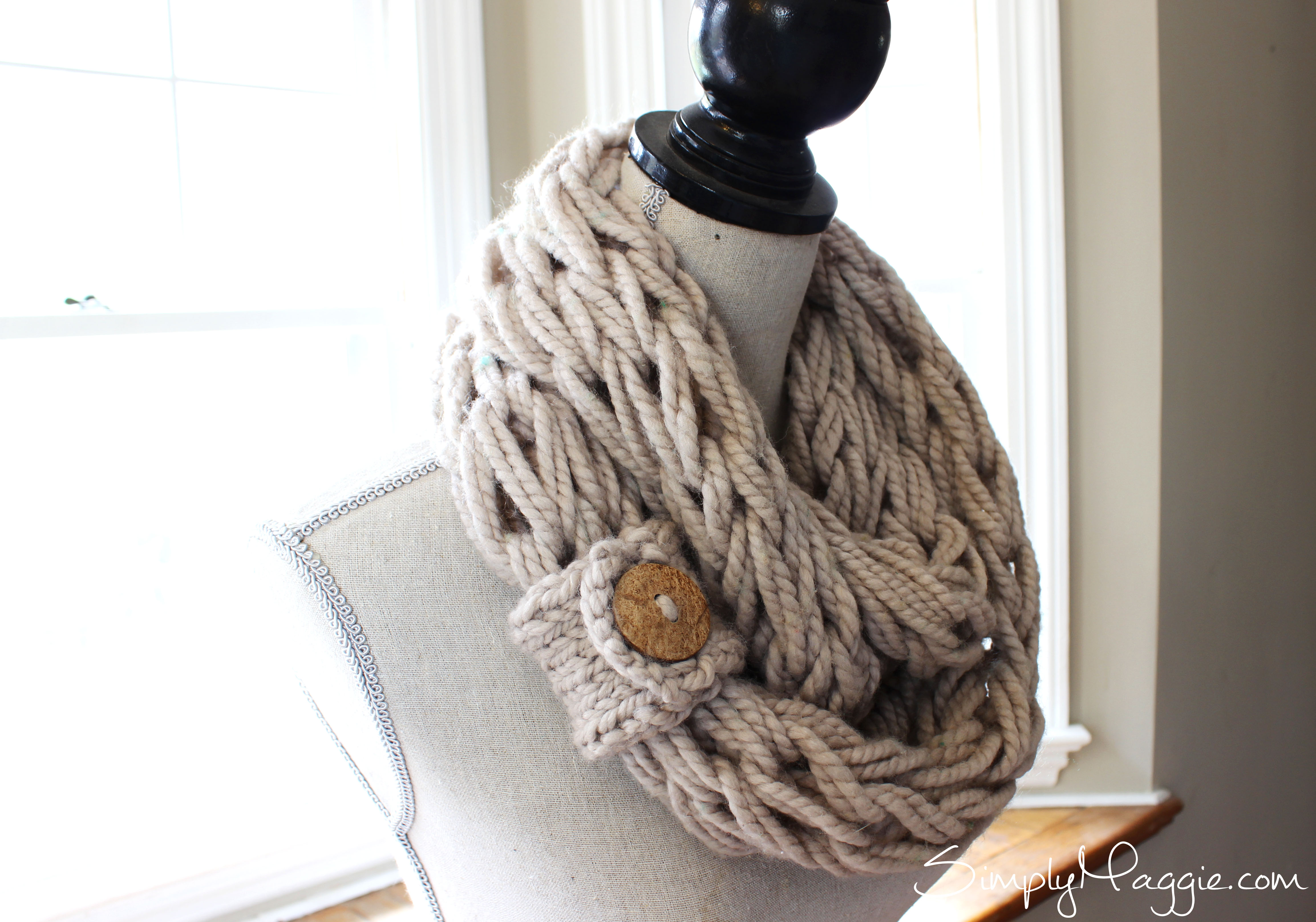 Arm Knit Scarf Pattern : Arm Knit Scarf with Button Cuff - Brown Coconut Button ? The Velvet Cove ? On...