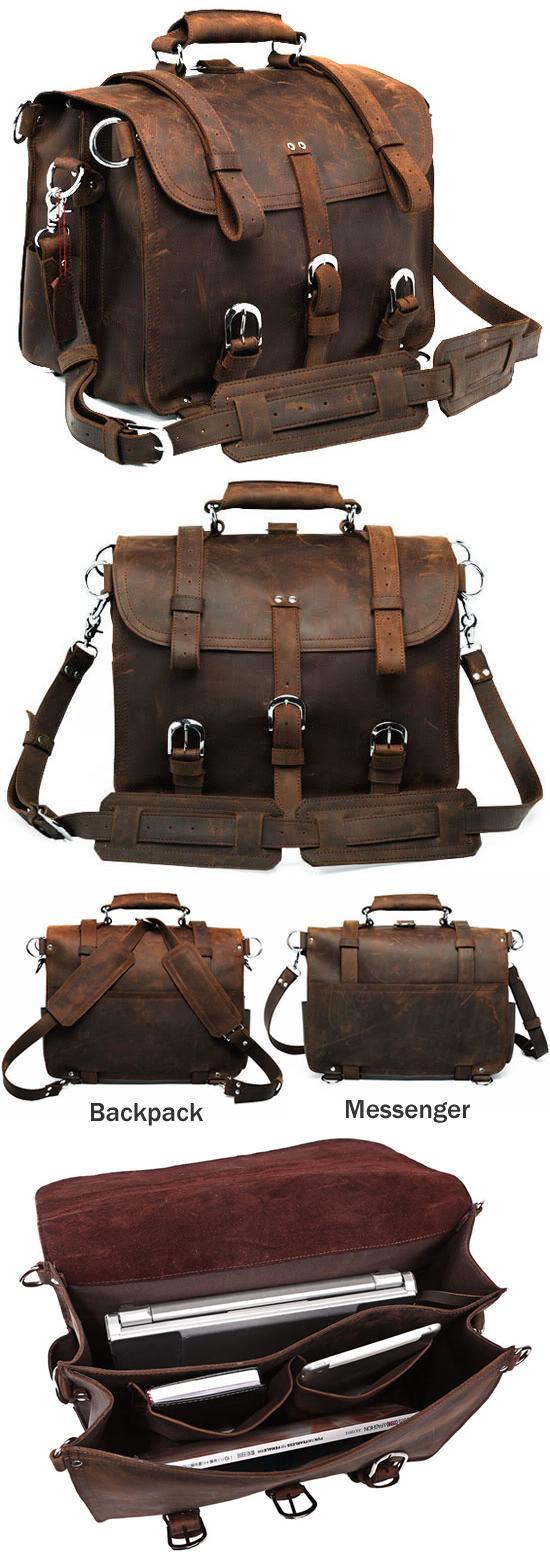 Men's Large Handmade Vintage Leather Satchel / Leather Briefcase ...