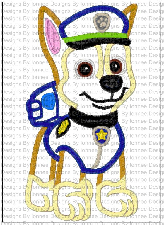Paw Patrol Chase Applique Machine Embroidery Designs In 2 Sizes On Storenvy