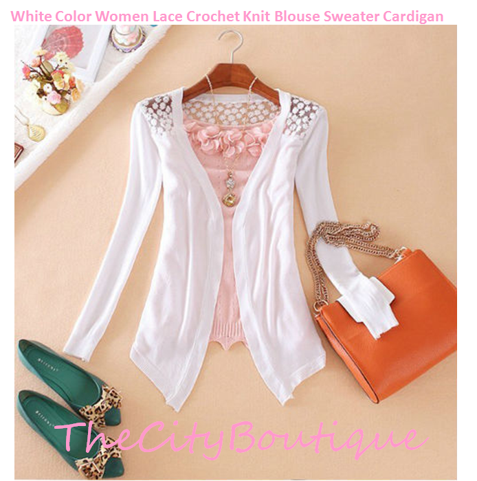 dlarra e | TCB 062 White Color Women Lace Crochet Knit Blouse ...