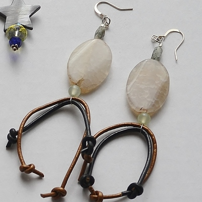 Quinn upcycled leather cord dragons vein agate boho earrings