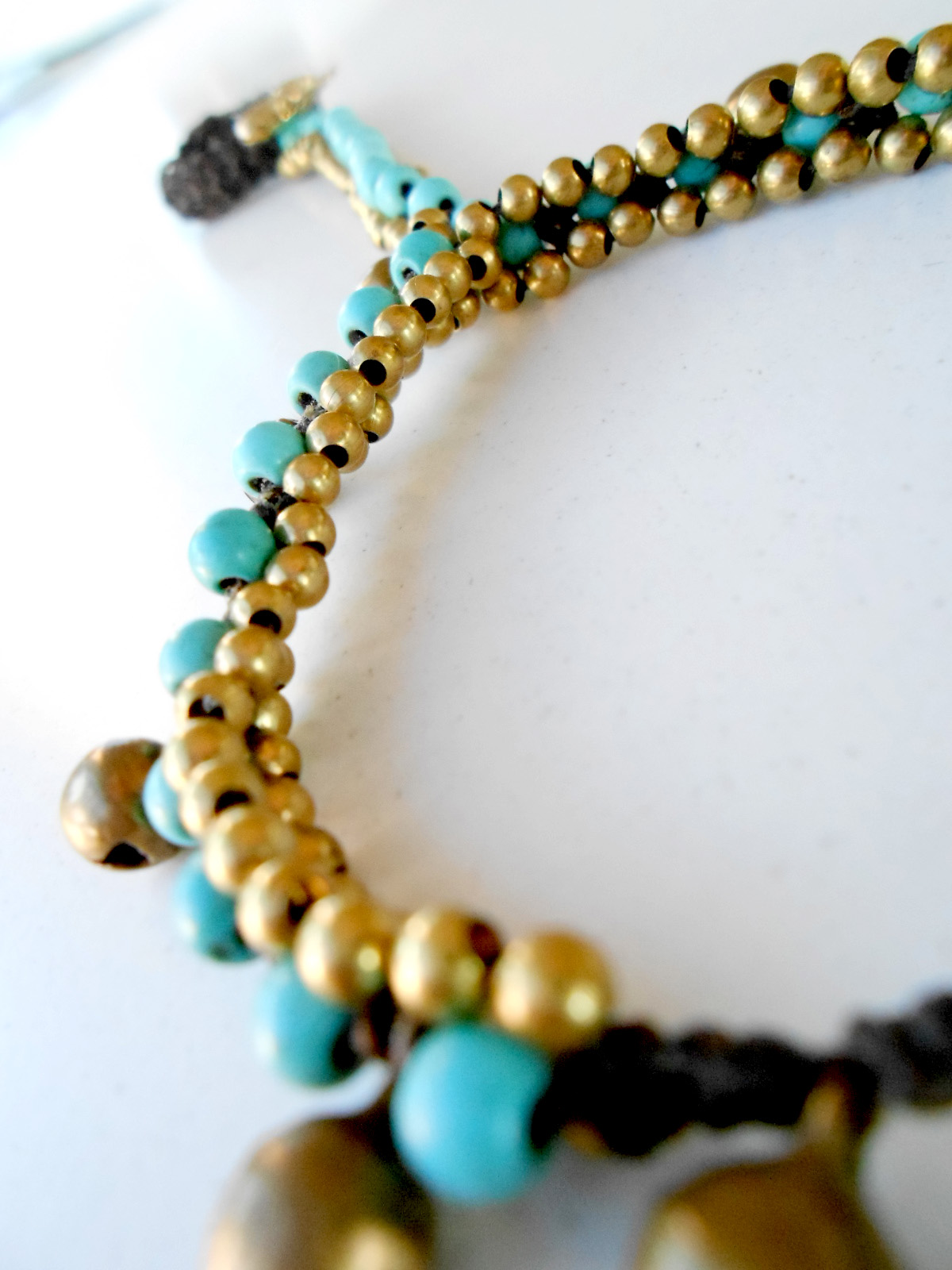 slave bracelet ring with turquoise beads stone and bell. Black Bedroom Furniture Sets. Home Design Ideas