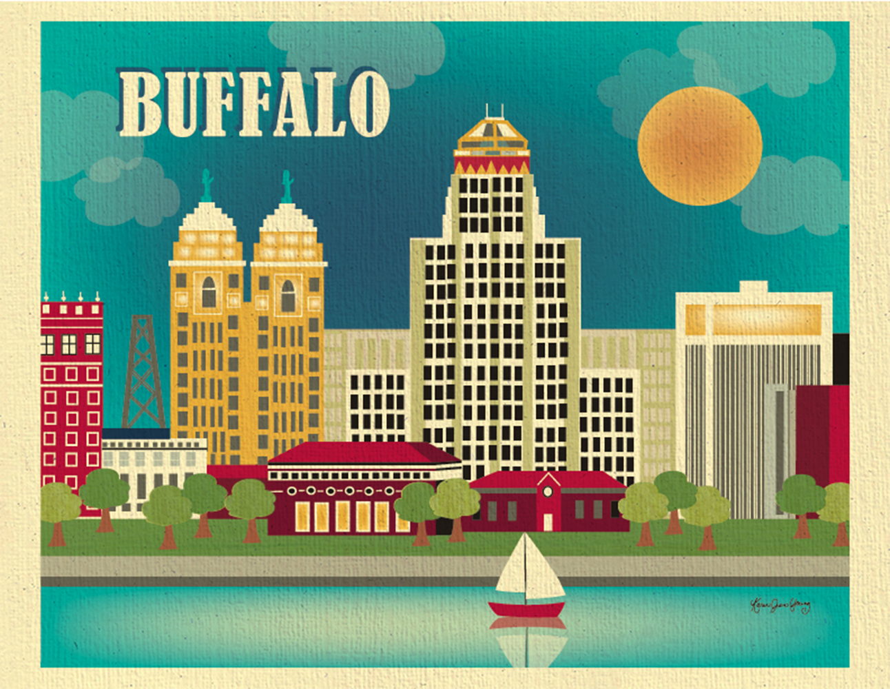 Buffalo new york skyline city wall poster print art for for Craft stores buffalo ny
