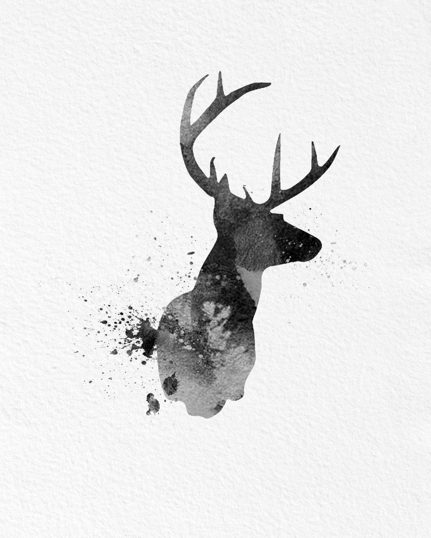 Watercolor Art Buck Deer Gift Modern 8x10 Wall Art Decor