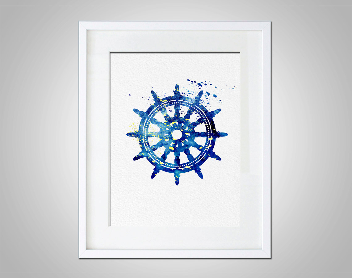 Art decor nautical theme ships wheel wall hanging print thumbnail 1