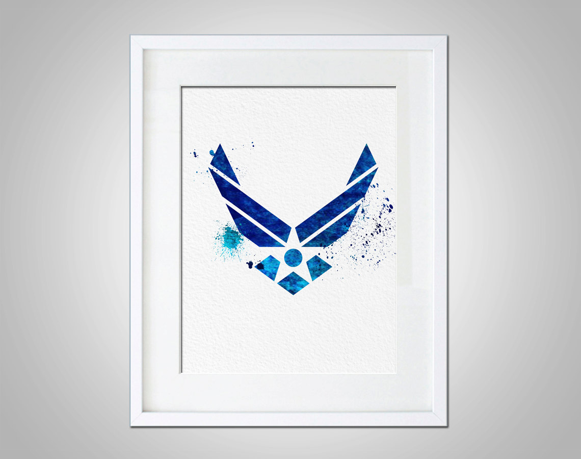 Usaf Wall Decor : Watercolor art air force symbol gift modern wall decor armed forces illustration