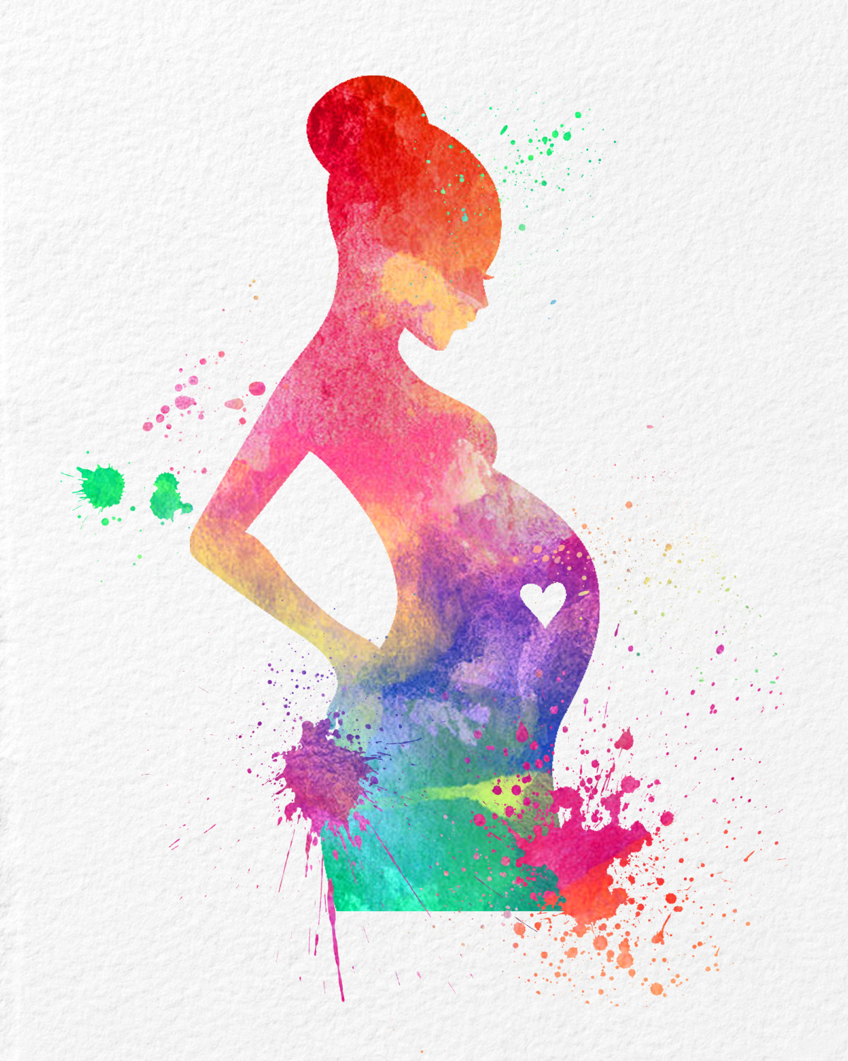 Watercolor Wall Art watercolor art expectant mother baby shower gift modern 8x10 wall