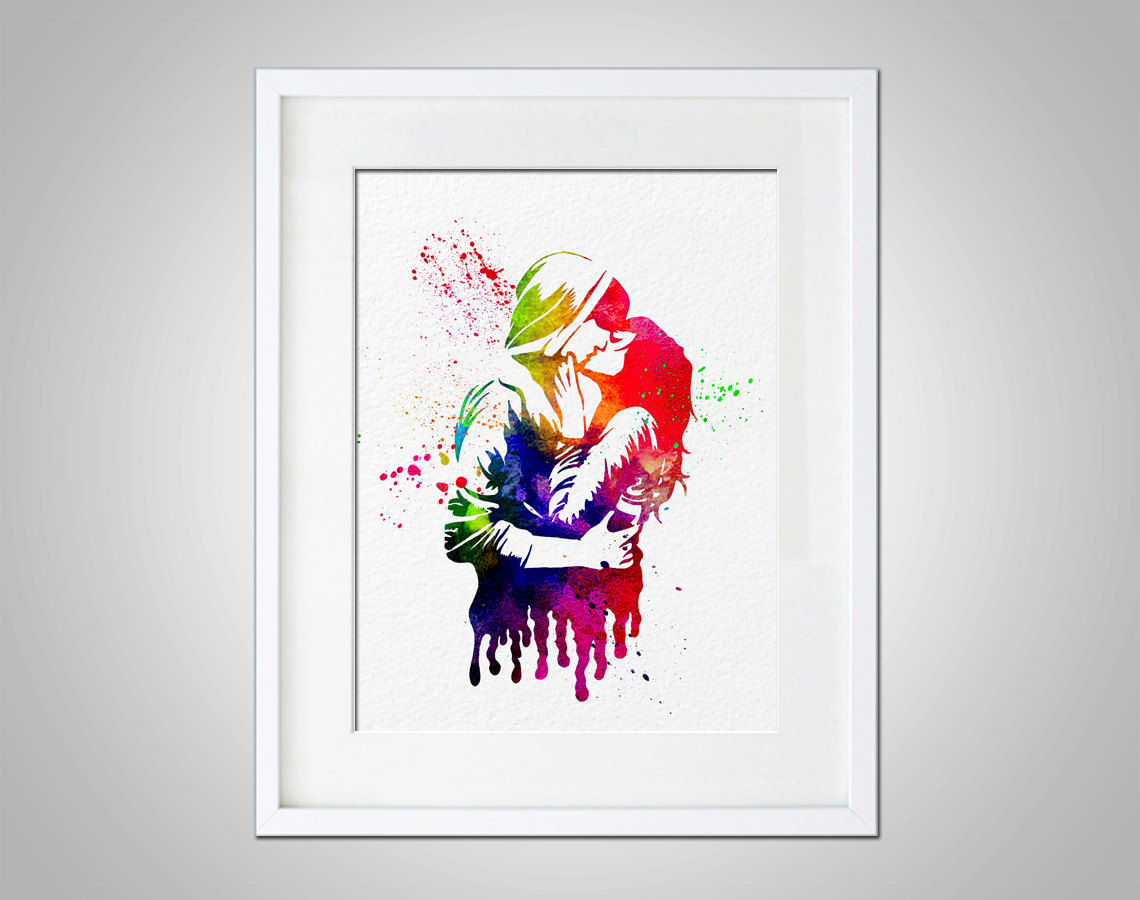 Prints For Wall Decor : Watercolor art print kissing couple modern wall