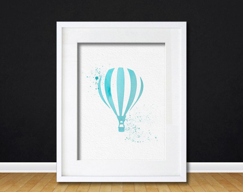 Blue Wall Art Decor watercolor art hot air balloon gift modern 8x10 wall art decor hot