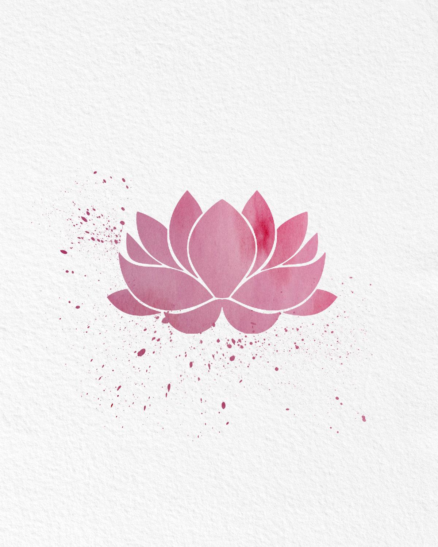 Watercolor Art Lotus Flower Gift Modern 8x10 Wall Art