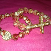 Gold Cross Stack Bracelets (Little Diva Collection)