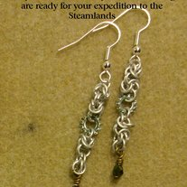 Silver Steampunk Earrings and Preciosa Crystal