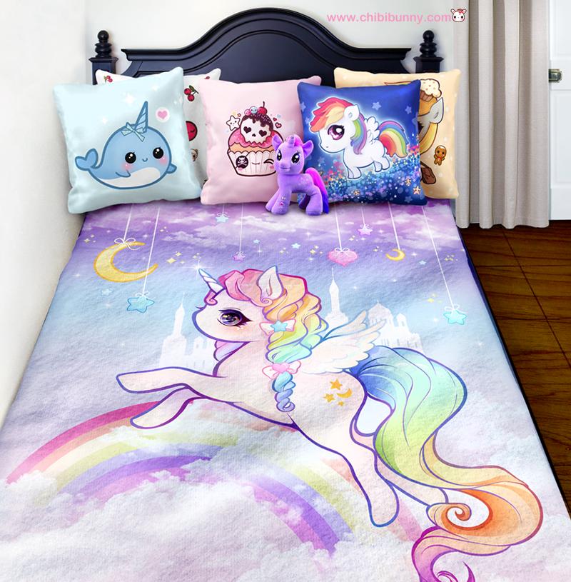 Pastel Rainbow Unicorn Cute Kawaii Fleece Blanket Fb11