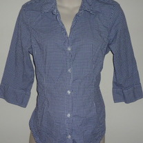 Blue/White Gingham Shirt with Buttons/Collar-Motherhood Maternity Size XL