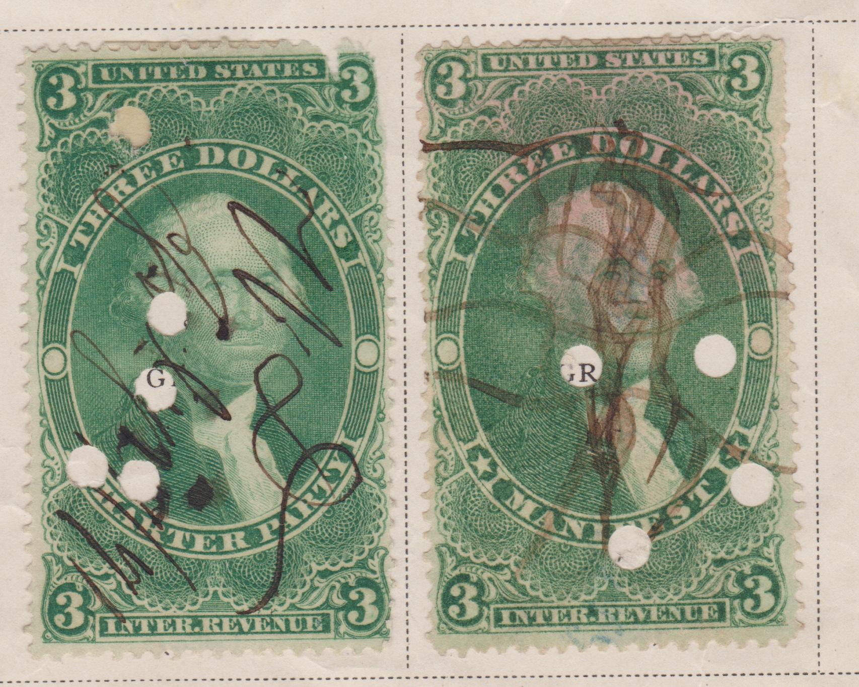 R85C R86C Green Three Dollar 300 US Internal Revenue Stamps Set 2