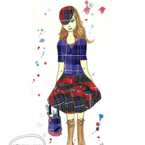 """Plaid Me"" 8x10 Matte Print Watercolor Fabric Fashion Illustration"