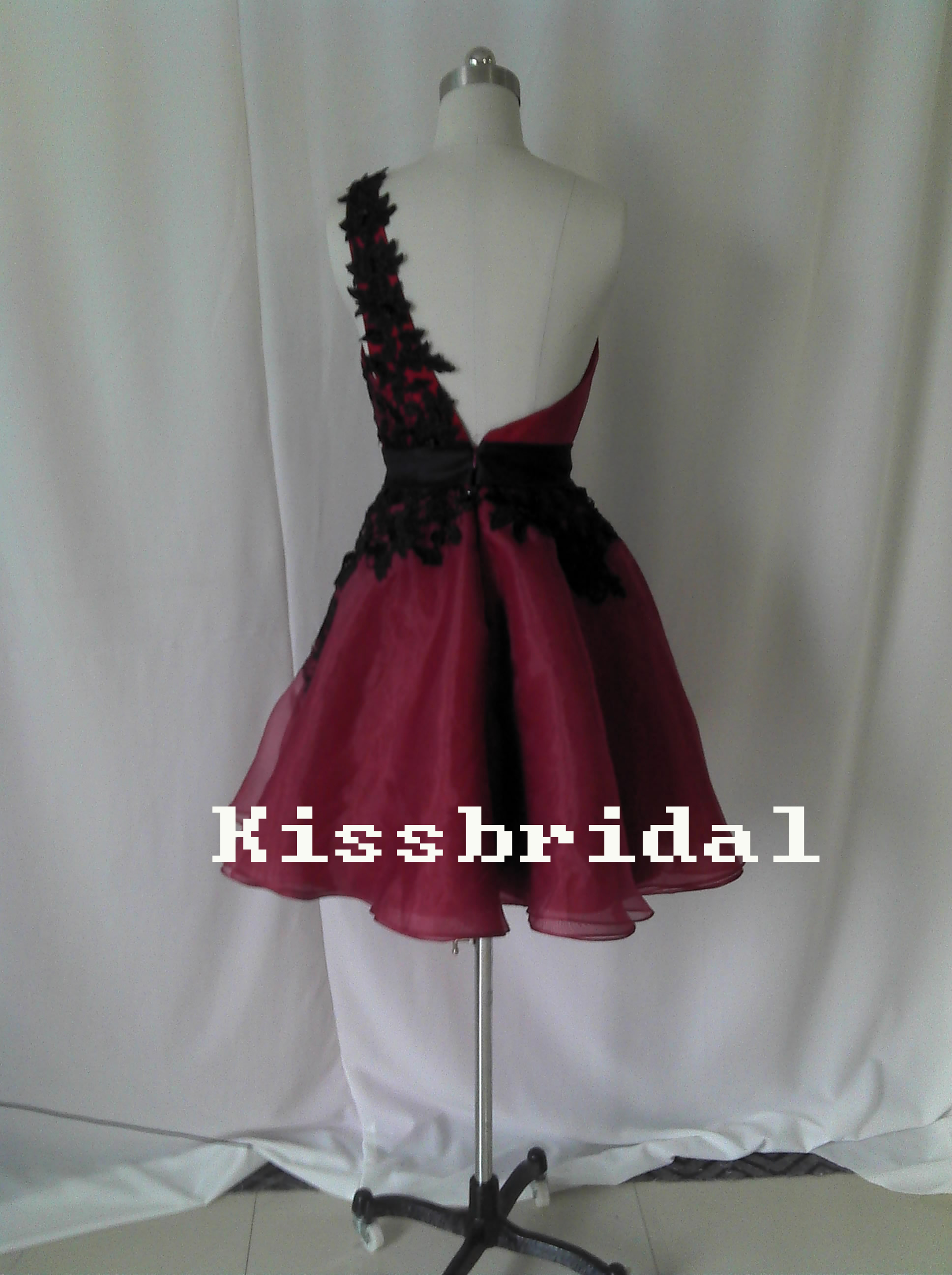 one shoulder burgundy organza cocktail dressblack lace