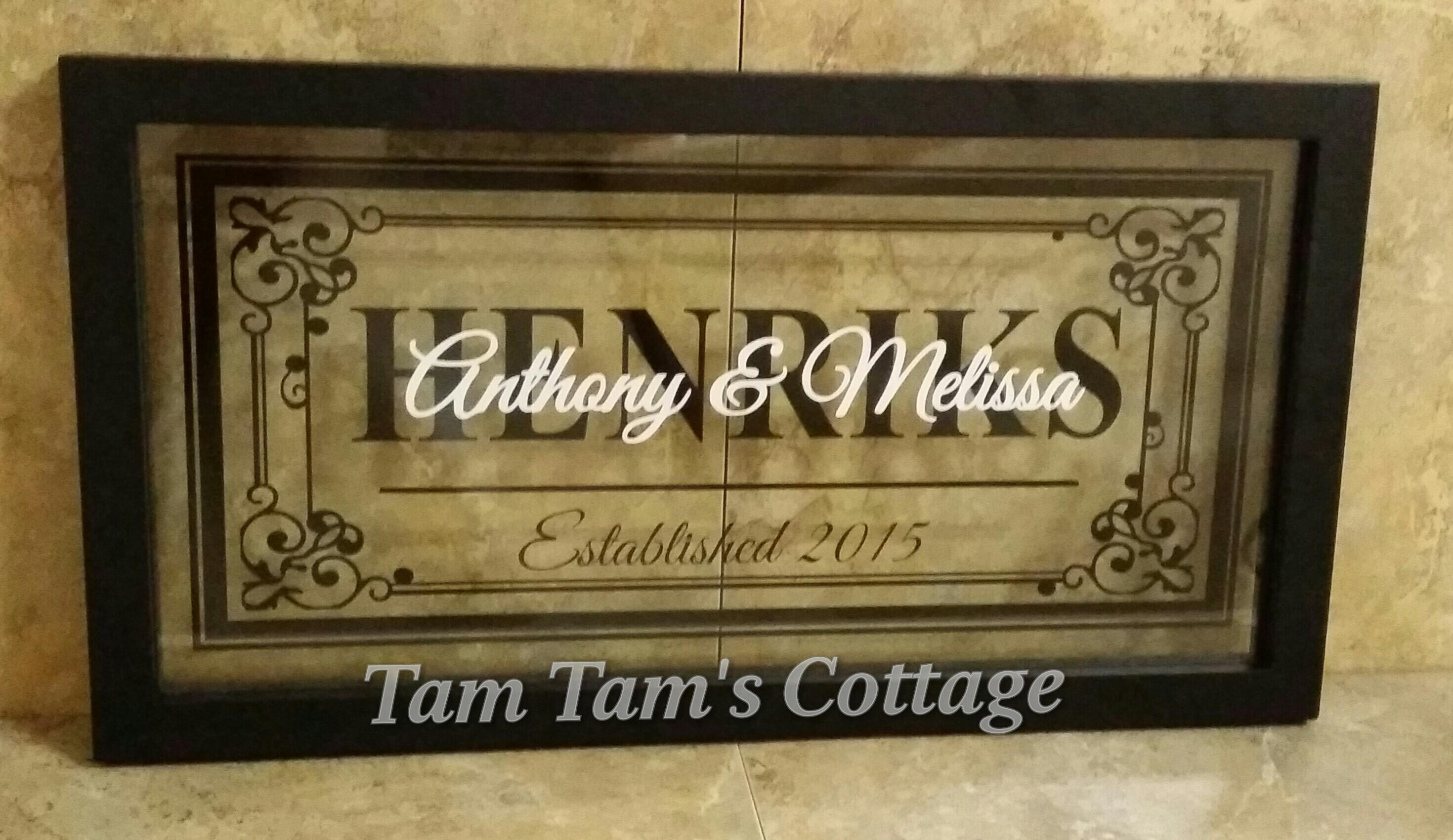 Family Name w/ Est date Floating Frame 16X8 · Tam Tam\'s Cottage ...
