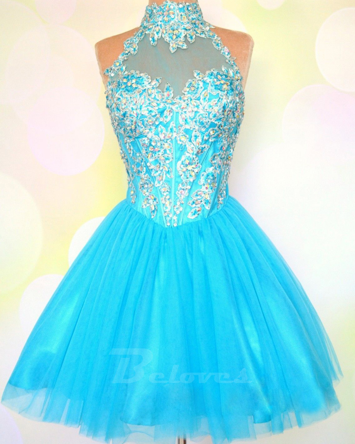 Blue Tulle High Neck Cocktail Dress With Keyhole Back