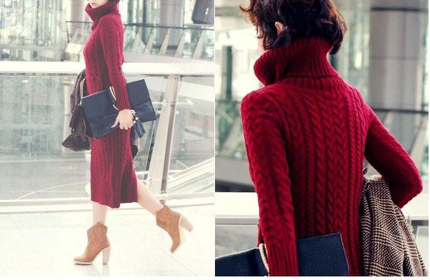 supergirlbeauty | Red turtleneck dress women sweater SW045 ...