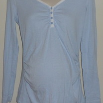 Light Blue/White Stripe Long Sleeve Shirt-Gap Maternity Size Medium