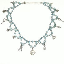 blue cinderella pearl bead lace charm necklace w silver bows clock scissors mouse key cat dress pumpkin pendants