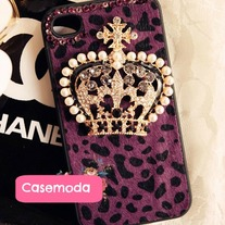 New Chic Furry Puprle Leopard Pattern Pearls Crown iPhone Case