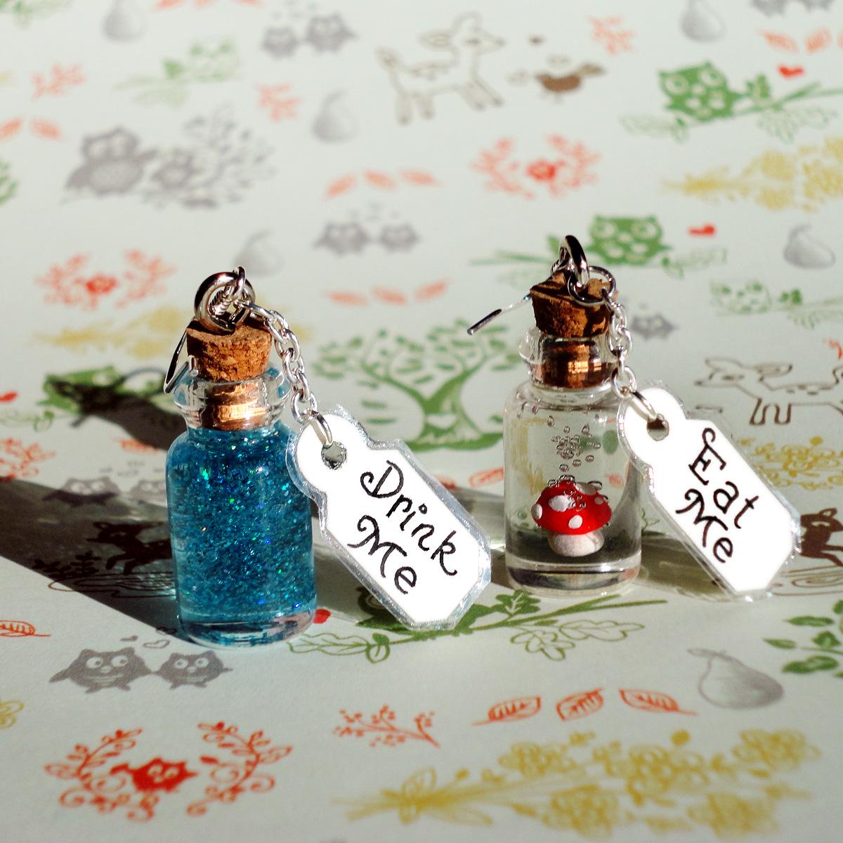 Alice In Wonderland Eat Me And Drink Me Earrings On Storenvy