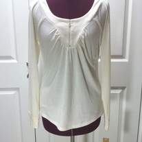 M cream off-white DKNY long sleeve pullover shirt ruch zip front top scoop neck blouse