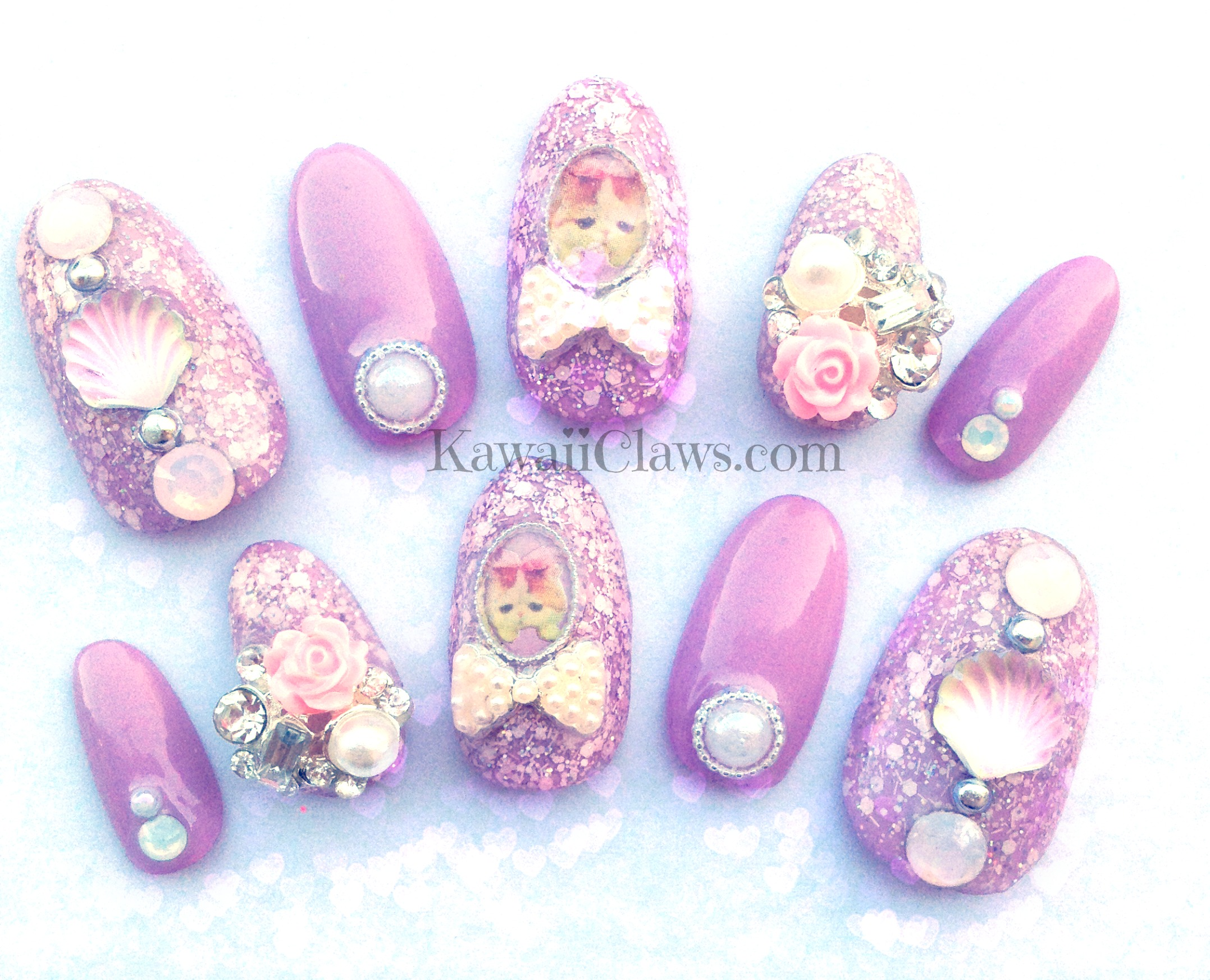 Kawaii Claws | Lavender Glitter Kitty Princess full false/fake 3D ...