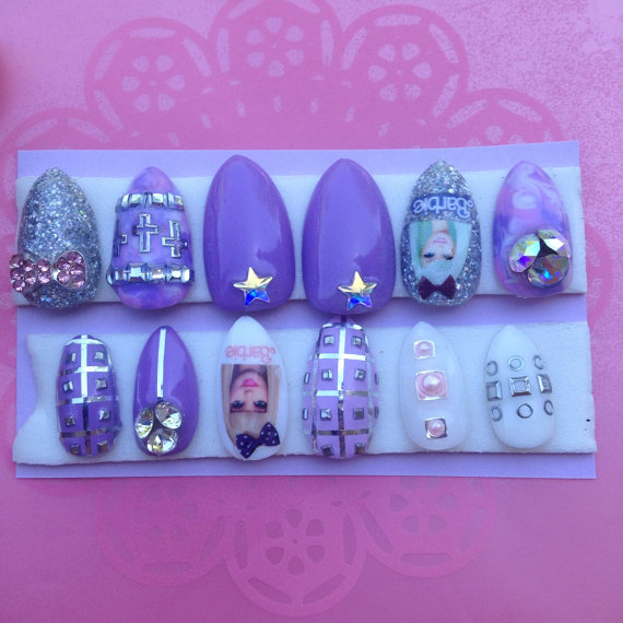 Kawaii Claws | Pink Tie-Dye Holo Glitter Barbie rock star full false ...