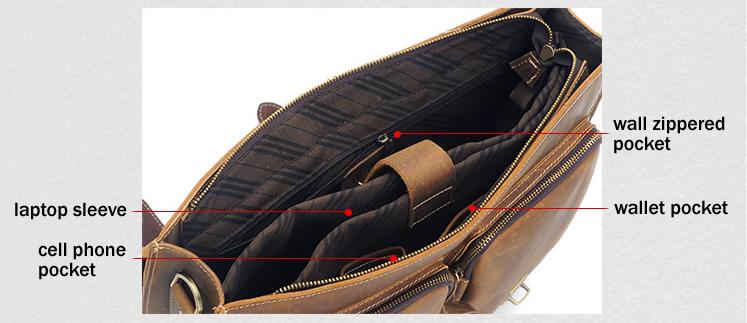 Large Handmade Vintage Leather Briefcase Messenger Bag 13 15 MacBook 14
