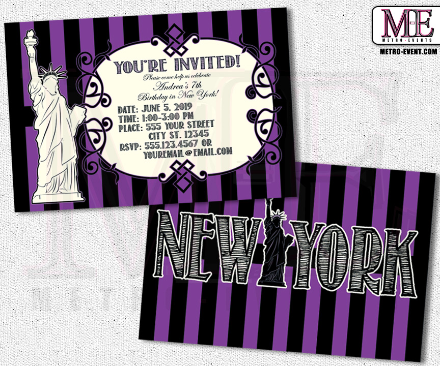 New York Invitations New York Party New York Birthday Sweet 16 – New York Party Invitations