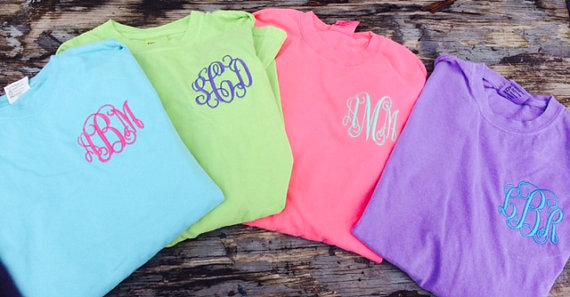 Comfort Color Monogrammed Long Sleeve T Shirts 183 Simply