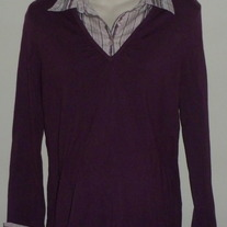 Deep Purple Long Sleeve Top with Stripe Collar and Cuffs-Duo Maternity Size XL