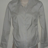 Light Pastel Stripe Shirt W/Buttons/Collar/Ruched Sides-Mimi Maternity Size Small