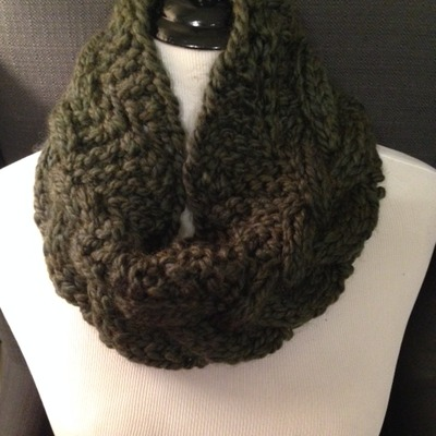 Dark green cable knit