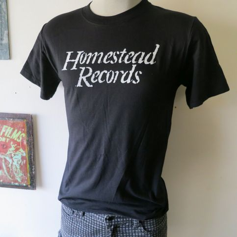 Homestead records t shirt screen print black short sleeve for Vintage screen print t shirts