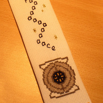 Space Core cross stitch bookmark